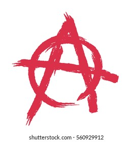 Anarchy sign isolated. Brush strokes grunge style