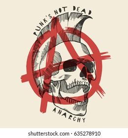 anarchy skull poster - punks not dead print