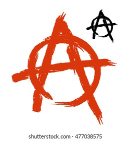 Anarchy Symbol grunge style. Sign of disorder and chaos. Emblem of arbitrariness and lack of state power. Antisocial logo