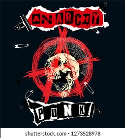 Anarchy symbol with a mohawk hair screaming skull heads and Anarchy Punk text with pins and clips. Vector illustration.