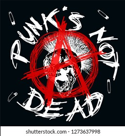 Anarchy symbol with a mohawk hair screaming skull heads and Punk's Not Dead text. Vector illustration.