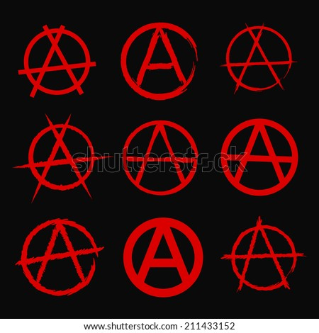 Anarchy Symbol Set Stock Vector Royalty Free 211433152 Shutterstock