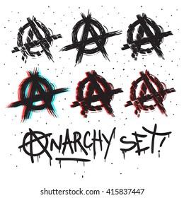 Anarchy symbols set drawing. vector illustration.