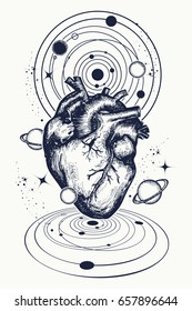 Anatomic heart among galaxies and planets tattoo. Symbol of love, philosophy, psychology, imagination, dream. Surreal t-shirt design