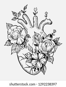 Anatomical heart with flowers. Engraving style. Hand drawn illustration converted to vector