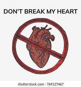 Anatomical heart hand drawn vector stock illustration