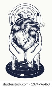 Anatomical heart, hands and universe. Tattoo and t-shirt design. Symbol of love, philosophy, psychology, imagination and dreams