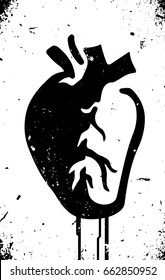 anatomical heart stencil style with dripping black paint on grunge textured wall black and white editable vector