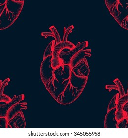 Anatomical heart - vector vintage style detailed illustration, seamless pattern