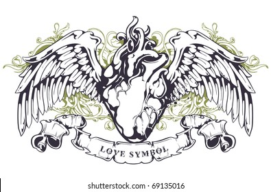 Anatomical heart with wings, ribbon and flourish pattern. Grunge style. Layered. Vector EPS 10 illustration.