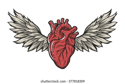Anatomical heart with wings. Tattoo sign,symbol. Color version.