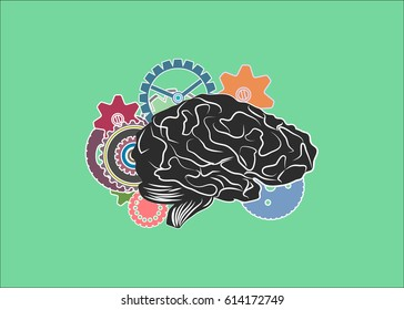 Anatomical human brain with gears. Concept of human thinking.