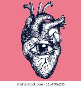 Anatomical human heart with eye. Hand-drawn vector illustration for your unusual surreal design.