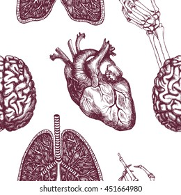 Anatomical seamless pattern with human heart, brain, lungs and skeleton hand. Vector texture for medical stuff or other design.