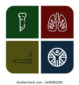 anatomical simple icons set. Contains such icons as Bone, Lungs, Joint, Vitruvian man, can be used for web, mobile and logo