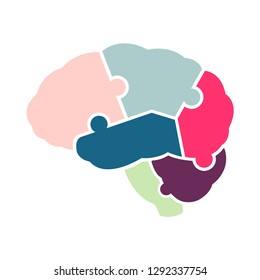 Anatomy of human brain in jigsaw puzzles shape on white background. For education of part of brain and concept of cognitive rehabilitation in Alzheimer disease and dementia.