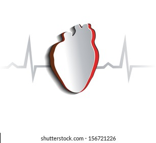 Anatomy of human heart, abstract design. Cut out heart shape and cardiogram.