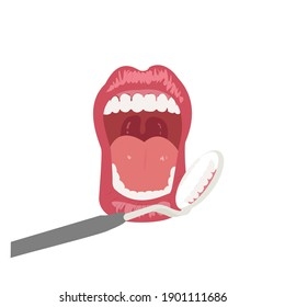 A anatomy human open mouth with healthy teeth model and dentistry with dental mirror in front of . Oral cavity. Infographic design for educational poster.Vector illustration flat design.