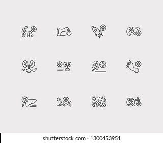 Anatomy icons set. Andrology and anatomy icons with biomedicine, sport and hepatology. Set of magnifier for web app logo UI design.
