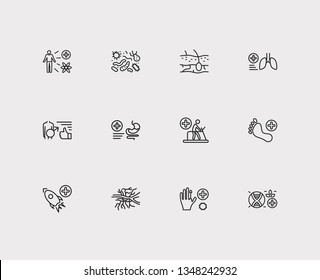Anatomy icons set. Angiology and anatomy icons with bacteriology, dermatology and nuclear medicine. Set of organism for web app logo UI design.