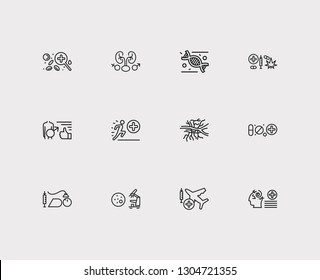 Anatomy icons set. Aviation medicine and anatomy icons with urology, angiology and anesthesiology. Set of chemistry for web app logo UI design.