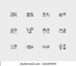Anatomy icons set. Dentistry and anatomy icons with biomedicine, psychiatry and pharmacology. Set of bronchi for web app logo UI design.