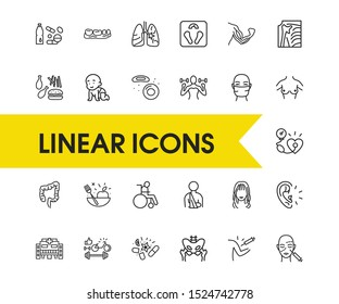 Anatomy icons set with patient with bandage, water bottle with pills, lung elements. Set of anatomy icons and femur concept. Editable vector elements for logo app UI design.