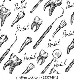 Anatomy teeth isolated seamless pattern