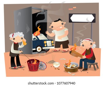 Ancestor worship in Chinese Hungry Ghost Festival. People make ancestor worship by burning paper offerings on the street in Chinese Hungry Ghost Festival.