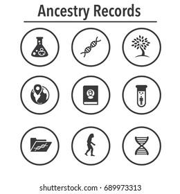Ancestry or Genealogy Icon Set with Family Tree Album, family record, etc