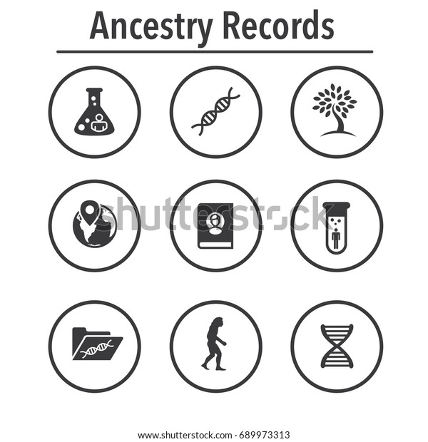 Ancestry Genealogy Icon Set Family Tree Stock Vector