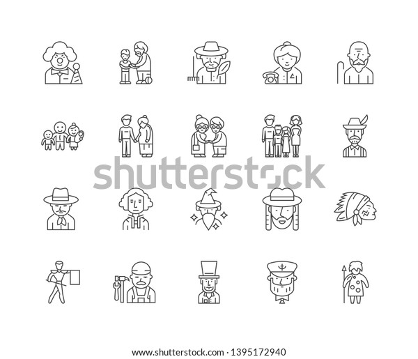Ancestry Line Icons Signs Vector Set Stock Vector (Royalty