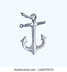 Anchor with chain, hand drawn doodle, sketch, black and white vector illustration