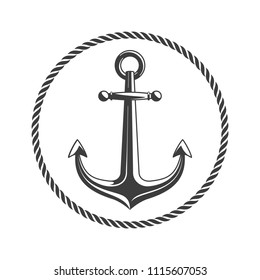 Anchor with circular rope frame. Vintage nautical badge. Marine emblem with anchors and of ropes. Ship anchor, vintage icon. Vector illustration EPS 10.