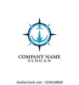 Anchor and compass logo design icon symbol