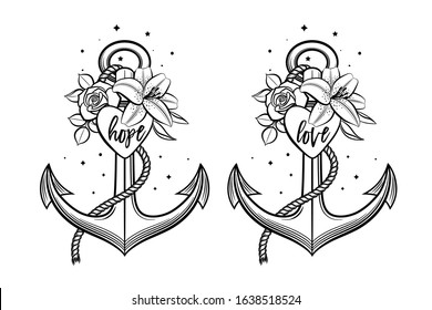 Anchor decorated with flowers, heart and lettering love and hope. Hand drawn vector illustration in vintage style