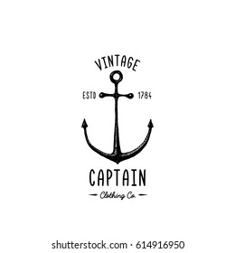 Anchor engraved vintage in old hand drawn or tattoo style, drawing for marine, aquatic or nautical theme, wood cut