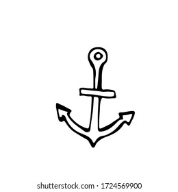 Anchor, equipment for sailors, for maintenance of the vessel. Souvenir from rest on the sea. Isolate on a white background. Vector image in doodle style. Elements for design.