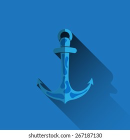Anchor with flat long shadow blue