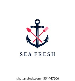 Anchor, fork and knife vector logo design template (icon, sign, symbol). Suitable for seafood restaurant or bar, coastal kitchen brand, seafood related book.