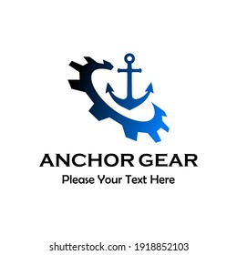 Anchor gear logo template illustration