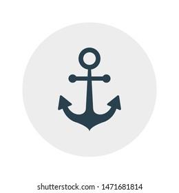 anchor glyph flat vector icon