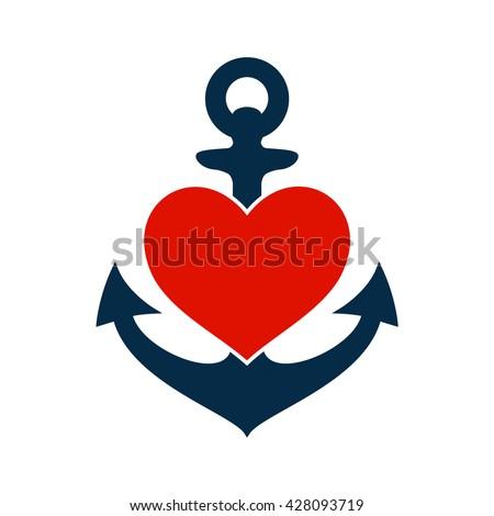 Anchor Heart Symbol Love Sea Sailing Stock Vector Royalty Free