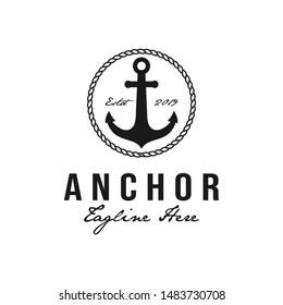 Anchor hipster retro logo design with circular rope. Nautical, sailing symbol