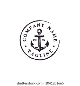 Anchor Hipster Vintage Retro Circular Rustic Stamp Hand Drawn Boat Ship Marine Navy Nautical logo design