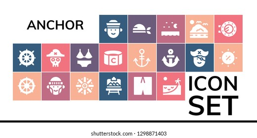anchor icon set. 19 filled anchor icons. Simple modern icons about  - Sailor, Helm, Hipster, Artboard, Swimsuit, Beach, Pirate, Captain, Anchor, Summer, Sea, Porthole