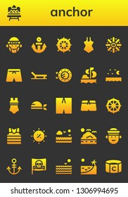 anchor icon set. 26 filled anchor icons.  Collection Of - Hipster, Artboard, Anchor, Helm, Swimsuit, Beach, Porthole, Sailing, Sea, Pirate, Sailor, Summer, Captain