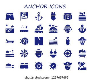 anchor icon set. 30 filled anchor icons. Simple modern icons about  - Swimsuit, Pirate, Anchor, Captain, Sailor, Beach, Sea, Sailing, Hipster, Porthole, Helm, Artboard, Summer