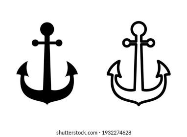 Anchor icon set. Anchor symbol logo. Anchor marine icon.