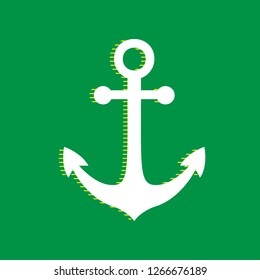 Anchor icon. Vector. White flat icon with yellow striped shadow at green background.
